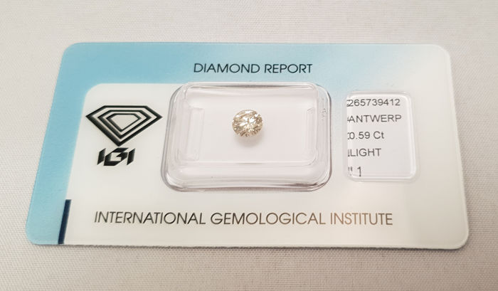 1 pcs Diamante - 0.59 ct - Brillante - light brown - I1