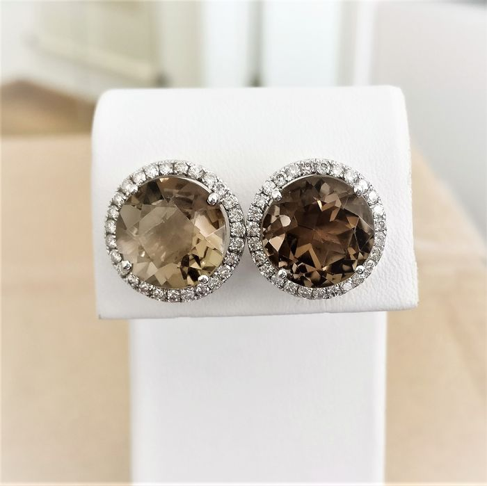 18 quilates Oro blanco - Pendientes - 11.10 ct Smokey Quartz - Diamantes