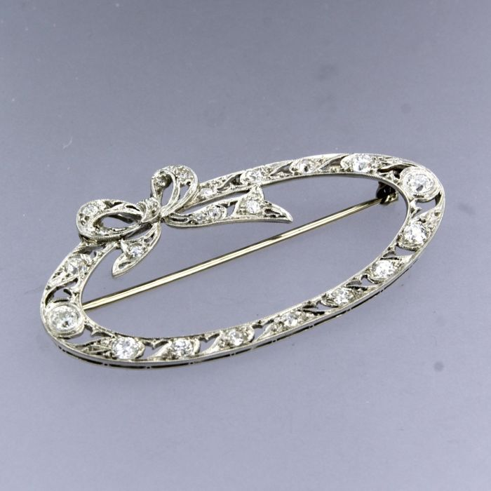 platina broche met 14k witgouden speld Platinum, White gold - Brooch - 1.20 ct Diamond