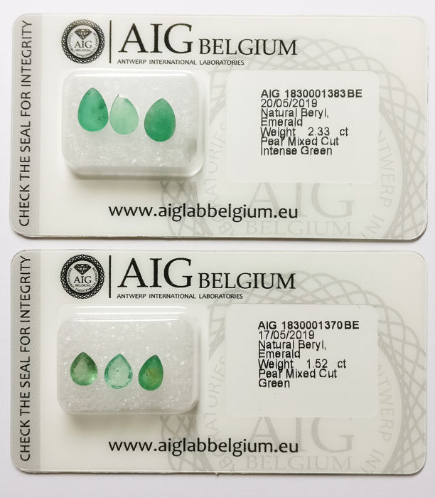 6 pcs Mixed Colors Emerald - 3.85 ct