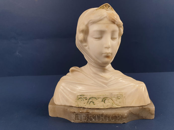 Sculpture, Beatrice Bust - Alabaster, Marble - about 1900