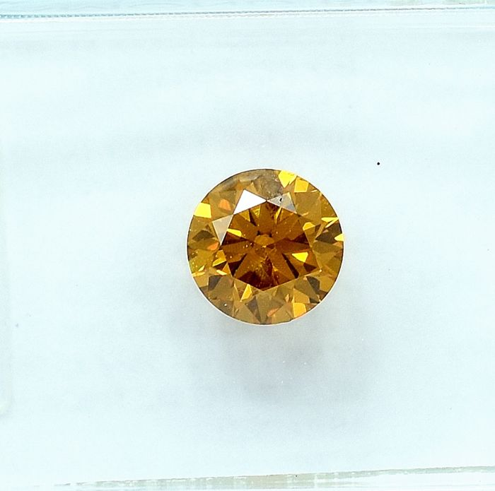 Diamant - 0.51 ct - Brillant - Natural Fancy Deep Yellowish Orange - I1