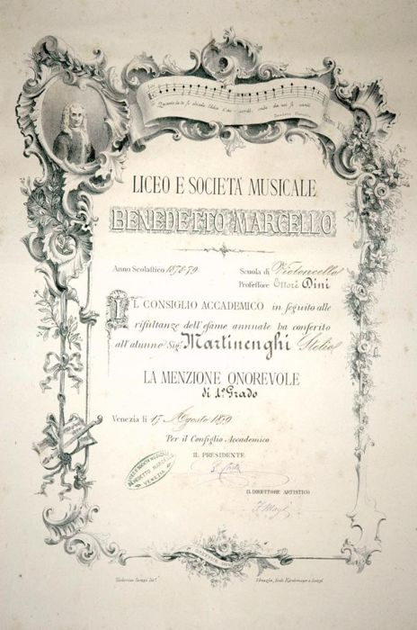 Fortunato Magi Director of High School of Venice - Autograph; Degree for the Years 1878-79 for the Violoncello School - 1881