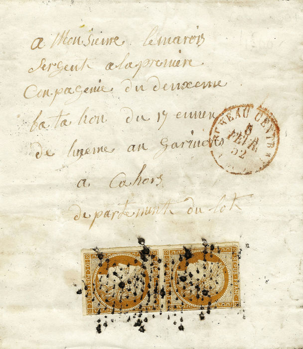 Frankrijk 1852 - Very rare 10 centimes bistre on letter with military rate, with the red stamp of Paris on the front. - Yvert 1