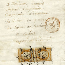 Frankreich 1852 - Very rare 10 centimes bistre on letter with military rate, with the red stamp of Paris on the front. - Yvert 1