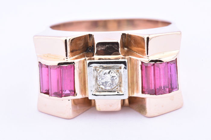 Gelbgold - Ring - 1.07 ct Rubin - Diamant