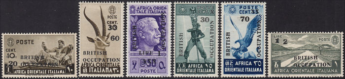 Afrique de l'est italienne 1941 - British occupation grey black overprint, complete set of six values - Sassone NN. 2/I - 7/I