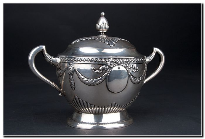 Sugar pot - .800 silver - Germany - Late 19th century