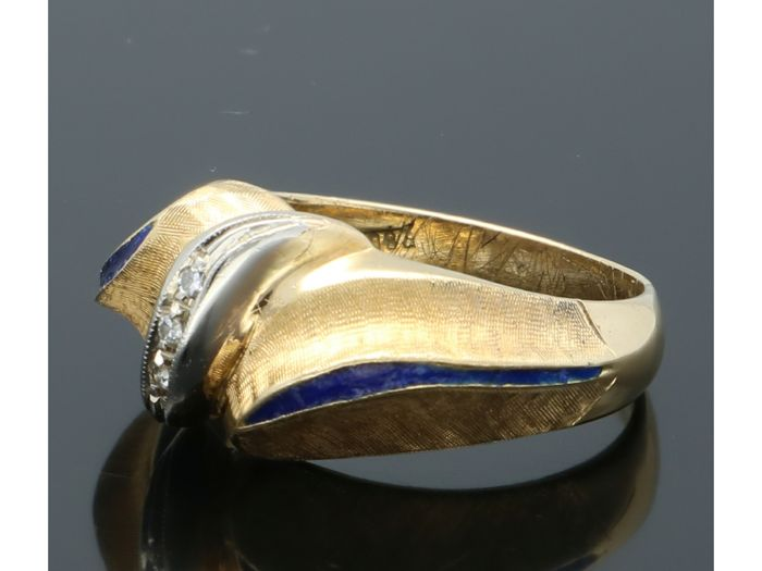 18 kt Gelbgold - Ring - 0.01 ct Diamant - Emaille
