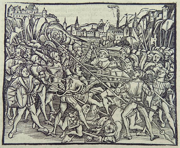 1514 - Fine woodcut in hand coloured on full leaf - Roman History: Battle Scene with Knights in Armour