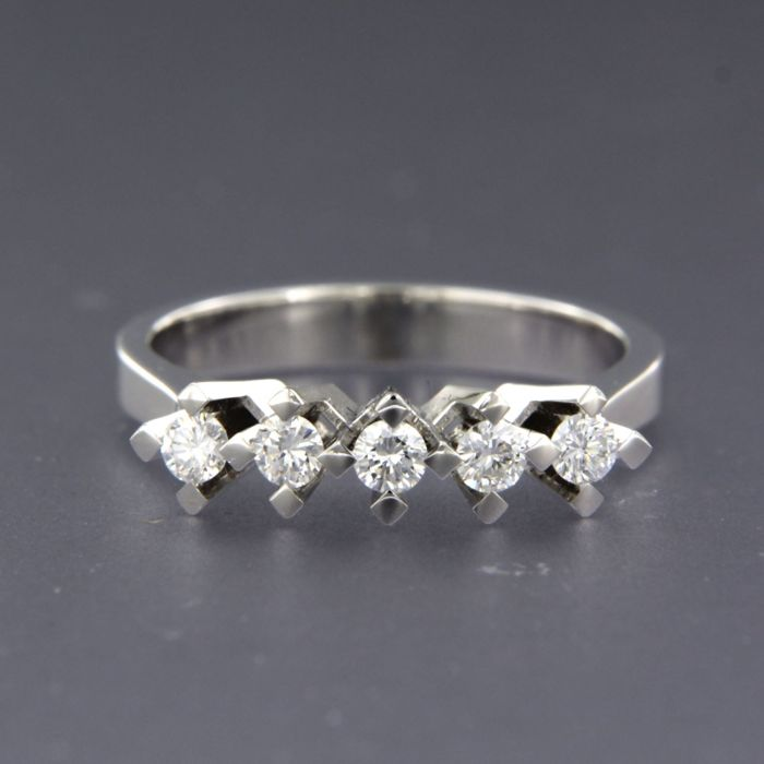 18 carats Or blanc - Bague - 0.33 ct Diamant