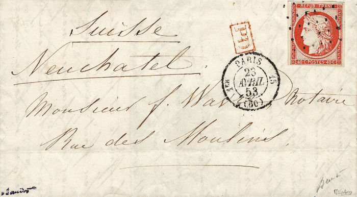 Frankrijk 1853 - Exceptional dashes postmark on bright orange 40 centimes on letter destined for Switzerland - Yvert 5a