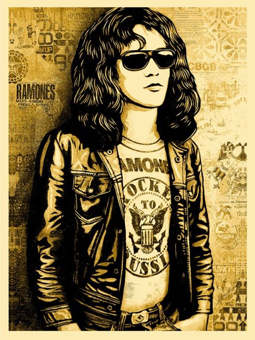 Shepard Fairey (OBEY) - Tommy Ramone Collage (Gold)