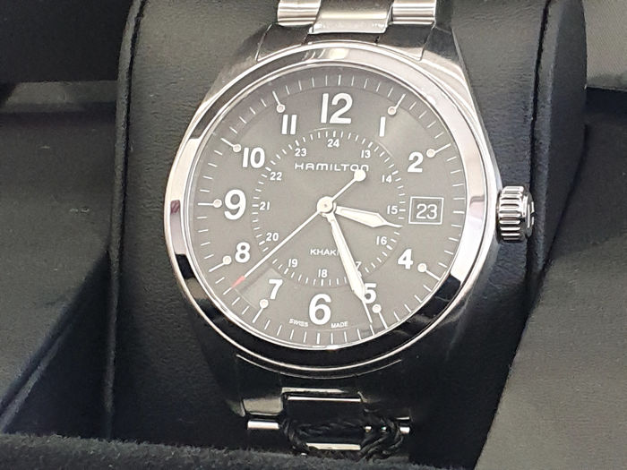 "Hamilton - "" NO RESERVE PRICE "" Khaki Field - Swiss Made -  H68551933 - Stainless Steel - Dater - Black Dial - Homme - 2011-aujourd'hui"