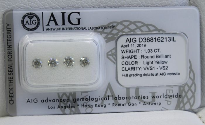 4 pcs Diamantes - 1.03 ct - Redondo - Light Yellow - VVS1-VS2