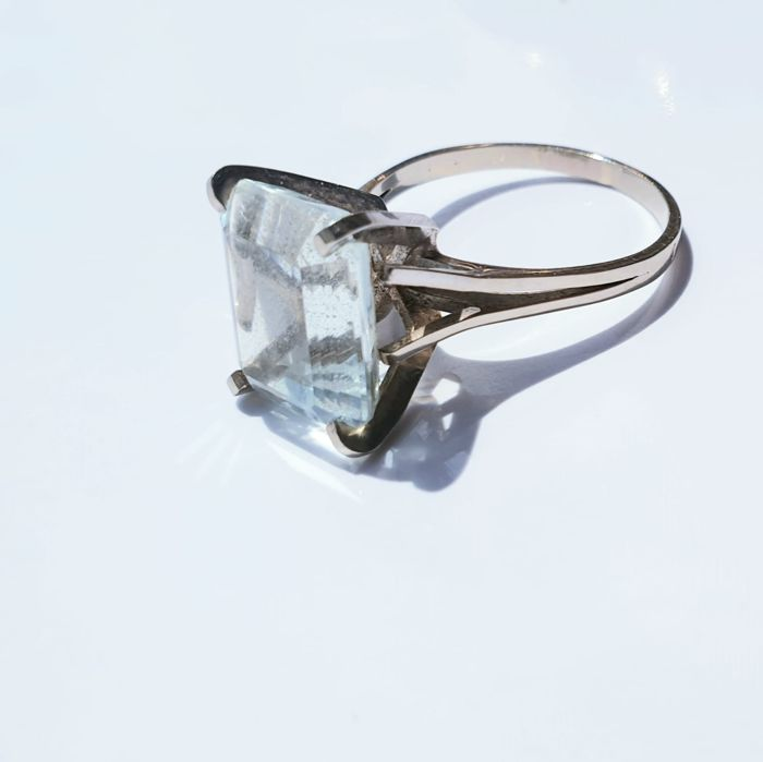 Ancienne solitaire Cocktail - 18 kt. White gold - Ring