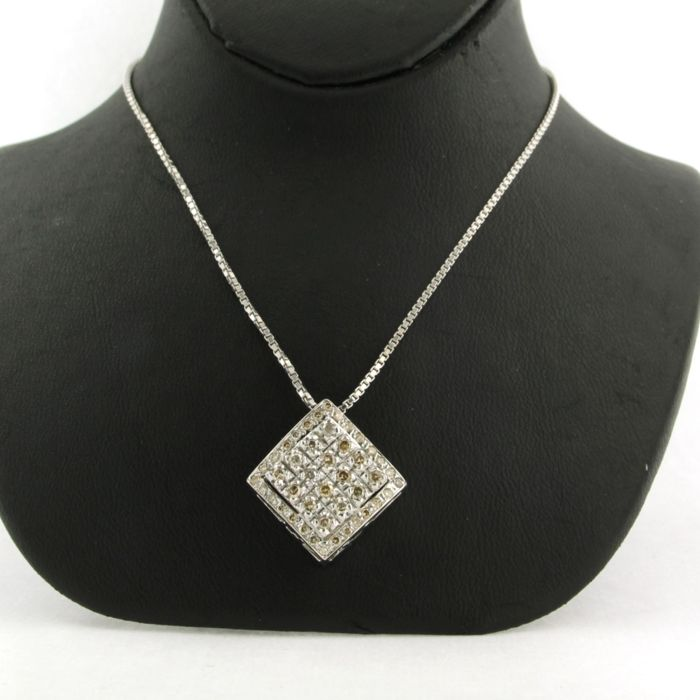 14 quilates Oro blanco - Collar con colgante - 0.60 ct Diamante