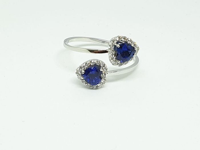 18 kt. White gold - Ring - 1.50 ct Tanzanite - Diamonds