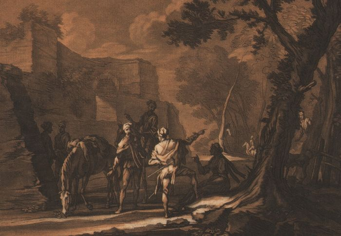 Georg Philipp Rugendas ( 1666-1742 ) - Horseriders near a ruin