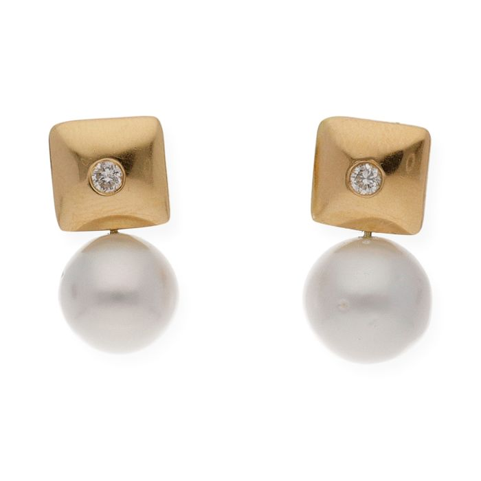 18 kt. Gold, Natural pearl, Saltwater pearls, South sea pearls - Earrings Diamond