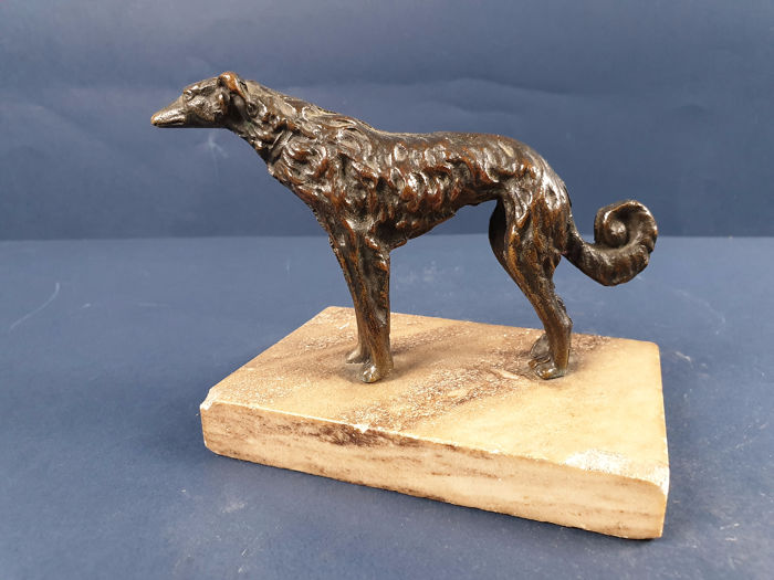 Sculpture, Russian Greyhound - Bronze, Marble - First half 20th century