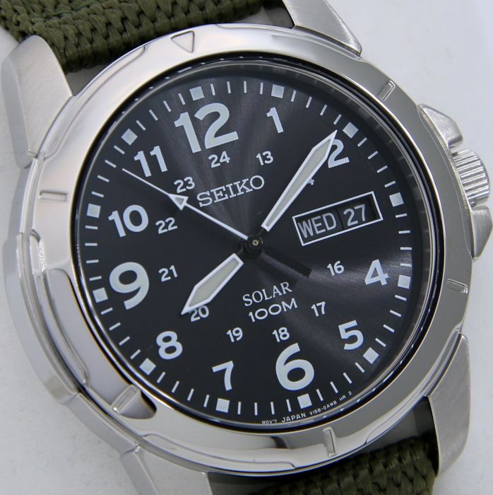 "Seiko - Solar ""Military Sport"" Watch 100M  - - ""NO RESERVE PRICE"" - - Heren - 2011-heden"
