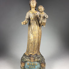 Flemish polychrome sculpture of Mary with child - Wood - 18th / 19th century