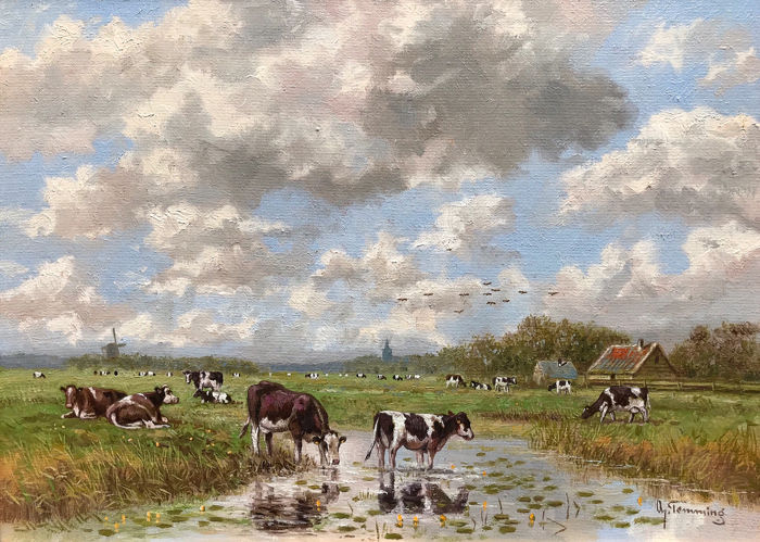 Albertus J. Temming (1942 -) - Koeien aan de plas in Hollands landschap