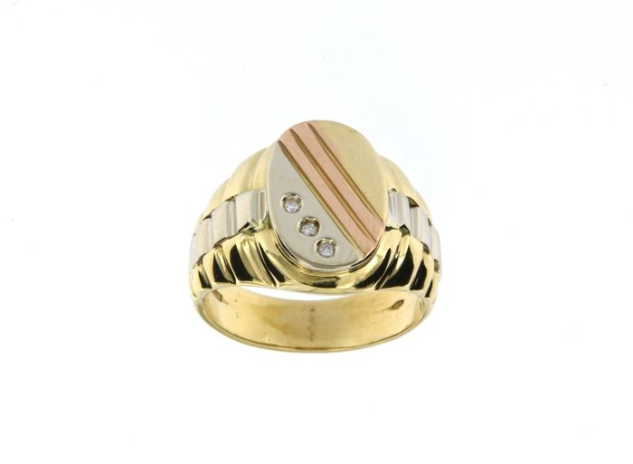 Made in Italy - 18 kt Gelbgold - Ring - 0.03 ct Diamant