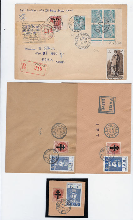 Frankrijk 1944 - Liberation of Paris - postmarked on letter. - Mayer 1 et 17