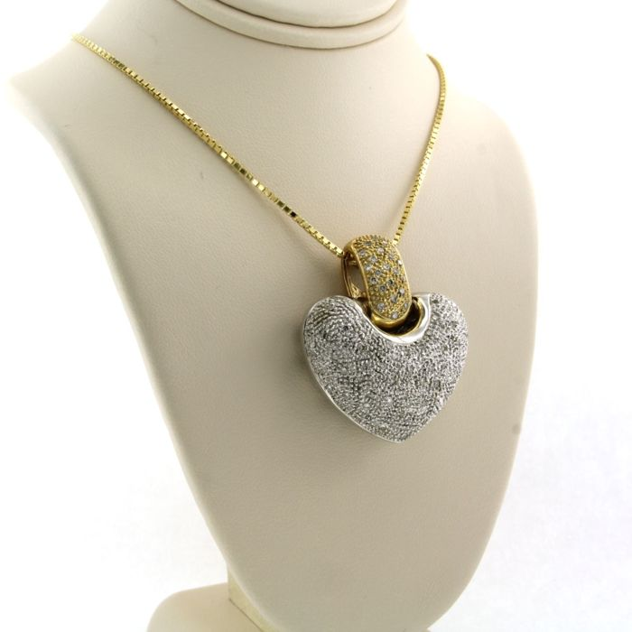 14 kt. White gold, Yellow gold - Necklace with pendant - 1.00 ct Diamond