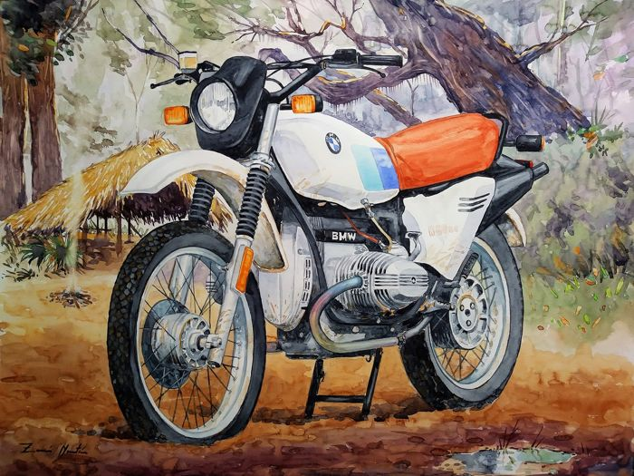 "Acquarello originale - Titolo: ""Dawn in the Jungle"" - BMW R 80 GS - 2019"