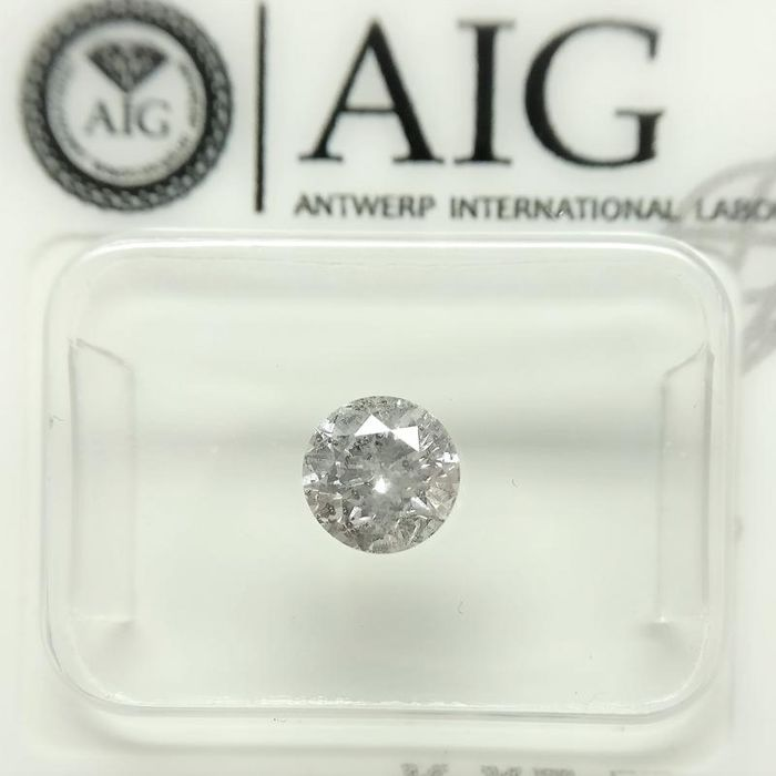1 pcs Diamant - 0.64 ct - Rond - E - P1