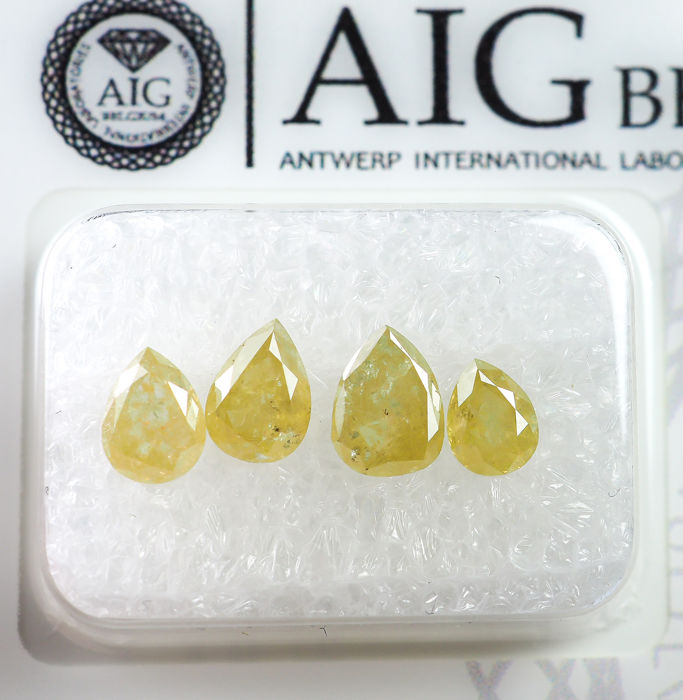 4 pcs Diamantes - 1.70 ct - Diamante no tratado amarillo de lujo natural - I3  *NO RESERVE*