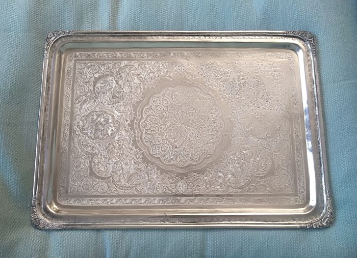 Tray, hand chased  - .840 silver - Persia  - Early 20th century