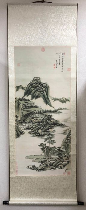 OpKnoping scroll - Zij- en houtschachtkoppen - Chinese Ink Landscape Painting in Qing Dynasty Style - China - Laat 20e eeuw