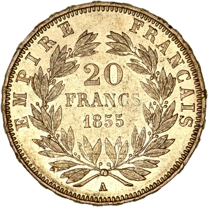 France - 20 Francs  1855 A 'Napoléon III' - Or