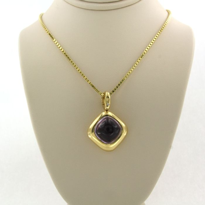 Wempe - 14k collier, 18k hanger Yellow gold - Necklace with pendant - 8.00 ct Amethyst - Diamond
