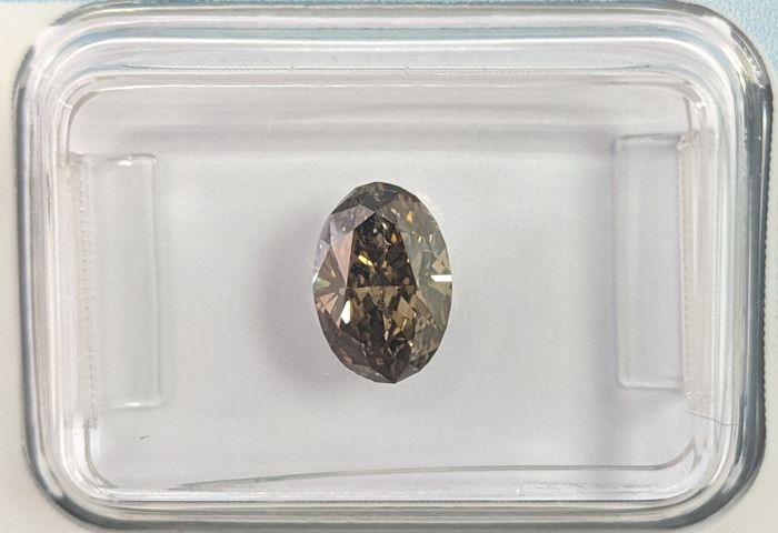 Diamante - 1.18 ct - Ovale - Fancy Deep Grey Brown - IGI Antwerp - No Reserve Price, SI2