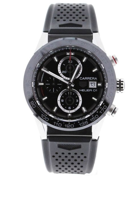 TAG Heuer - CARRERA CALIBRE HEUER 01 Chronograph Black Rubber Strap - CAR201Z.FT6046 - Unisex - 2019