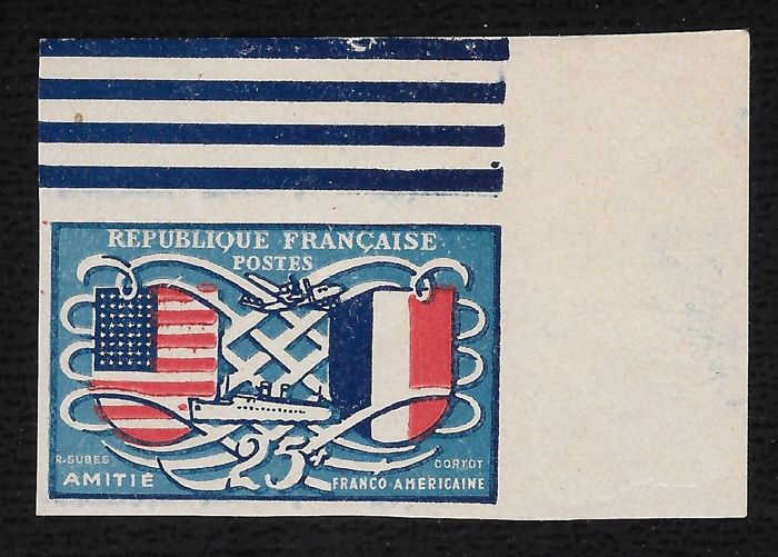 Frankrijk 1949 - Franco-American friendship - Not issued - With Calves certificate - Maury 840A
