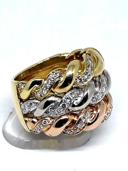 18 kt. Pink gold, White gold, Yellow gold - Ring - 0.65 ct Diamond