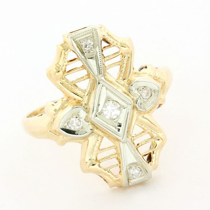 14 kt. White gold, Yellow gold - Antique Ring - 0.10 ct Diamond