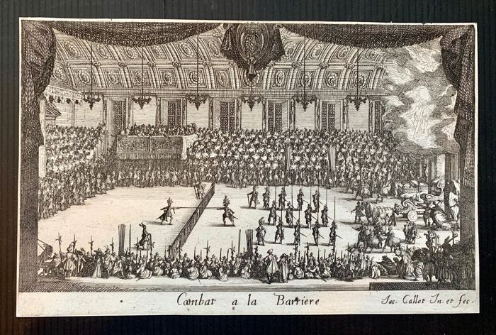 Jacques Callot (1592-1635) with Lugt collector Stamp Charles Thorman - Combat a la barriere