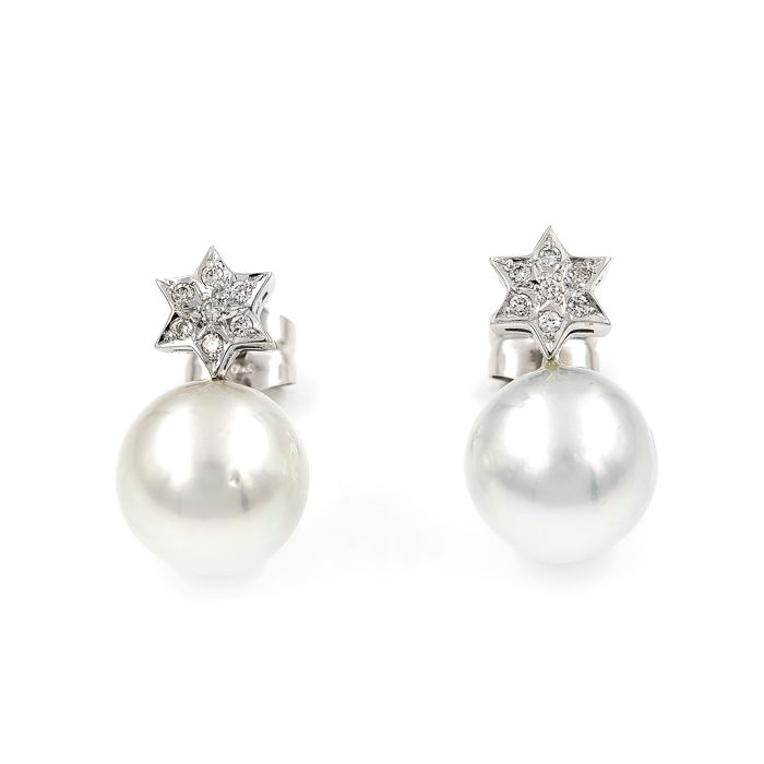 18 kt. South sea pearls, Yellow gold - Earrings Diamond - Pearls