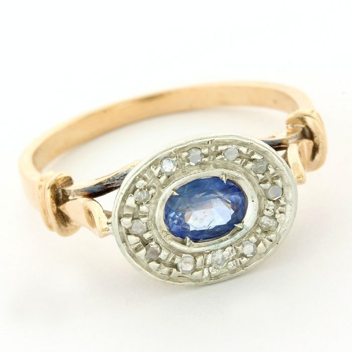 12k Rose Gold, White gold - Antique Ring - 0.40 ct Sapphire - Diamond