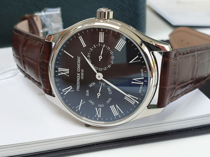 Frédérique Constant - luxury men day and date display unworn with elegant dark brown leather strap - Herren - 2019