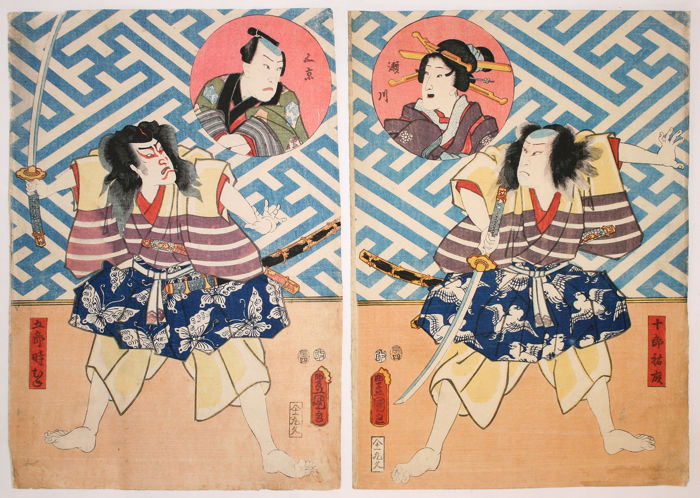 Diptych, Original woodblock print - Utagawa Kunisada (1786-1865) - Kabuki actors on stage as the Soga Brothers, Goro Tokimune and Juro Sukenari - 1856