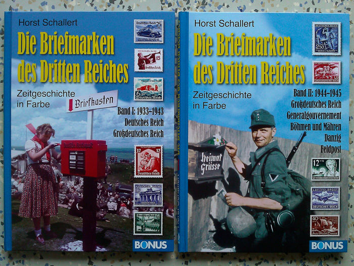 Germany - 2 x Book - The stamps of the Third Reich 1933-1943 / 1944-1945 - Contemporary History in color - German Reich + Greater German Reich, General Government of Bohemia and Moravia, Gdansk, Field Post - 2010