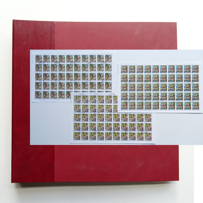 Hungary - Collection of complete stamp sheets in XXL-format in album
